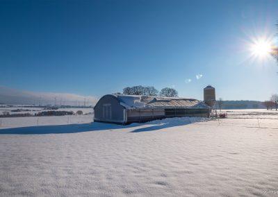 Mobilstall Rundbogen: Unsere Stallsysteme bieten auch im Winter ein ideales Stallklima.