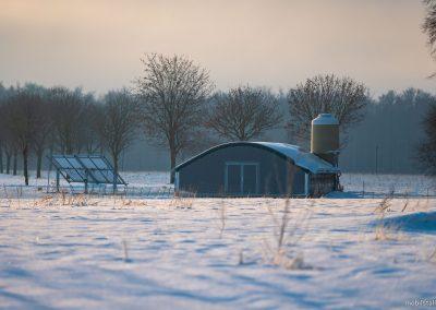 Mobilstall Rundbogen: Klirrende Kälte im Winter ist kein Problem. Unsere Ställe sind voll isoliert.